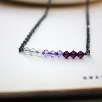 Amethyst Ombre Swarovski Crystal Necklace