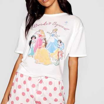 Disney Princess 'Brides Squad' Frill PJ Short Set | Boohoo