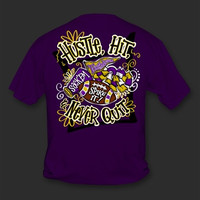 Sweet Thing Funny Hustle Hit Never Quit Football Purple Girlie Bright T-Shirt