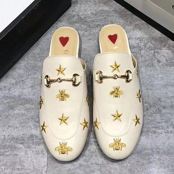GUCCI Fashion Women Casual Leather Embroidery Half Slipper Mules Shoes