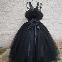 Tutu Dress, BASIC BLACK, Fluffy-top, elastic, crochet-style Bodice, Size Chest 28 Inches, Extra-long Skirt