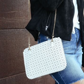 Clarissa Eyelet Clutch Handbag in White