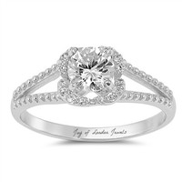 1CT Round Cut Russian Lab Diamond Engagement Ring