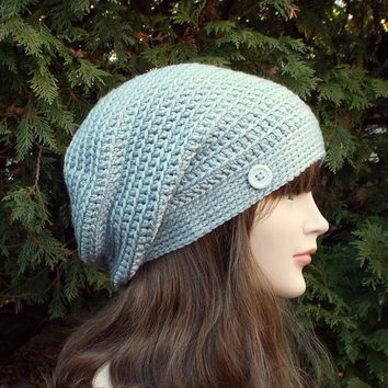 Silver Gray Slouch Beanie - Womens Slouchy Crochet Hat - Ladies Oversized Cap with Button - Hipster Hat