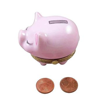 Piggy Bank With Slot With Coins Limoges Box