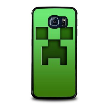 creeper minecraft samsung galaxy s6 edge case cover  number 1