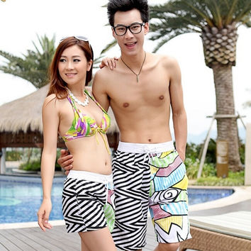 Leisure Mens Womens Lovers Swimming Beach Surf Board Swim Shorts Trunks Pants Surfing shorts 2 pairs = 1704254148