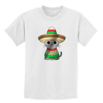 Sombrero and Poncho Cat - Metallic Childrens T-Shirt by TooLoud