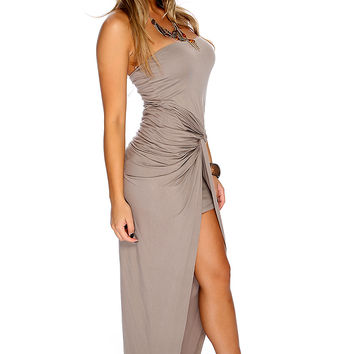 Sexy Taupe Strapless Asymmetrical Knotted Front Casual Party Dress