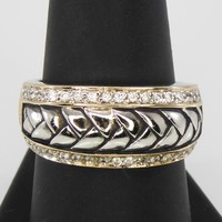 Sterling Silver & CZ Band w/ Braided Center, Rhodium Plated Size 8.5 Marked 925, XRF Tested Vintage Pre 2000  Aladdins, Princess Jasmine