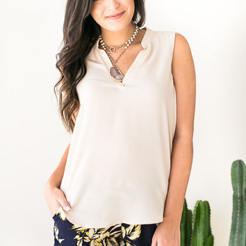 New Rules V Neck Blouse - Taupe