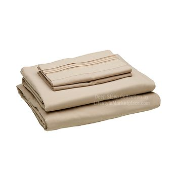 Twin XL / Dorm / Hospital Bed Sheets - Sand - Deep Sleep 1800 Thread Count Sheet Set - Breathable, Moisture Wicking, Ultra Soft, Wrinkle Free