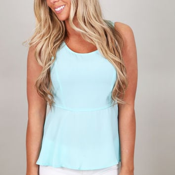 Miss Molly Peplum Top {Blue}