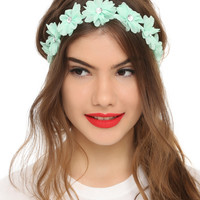 Mint Chiffon Flower Stretchy Headband