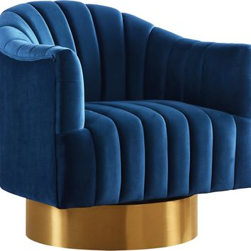Farrah Navy Velvet Accent Chair
