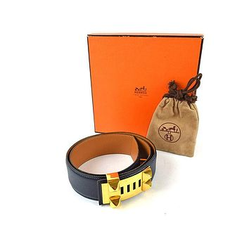 Auth [Good] HERMES Medor Collier De Chien Belt Navy Men's w/Box Bag (Used) 35273