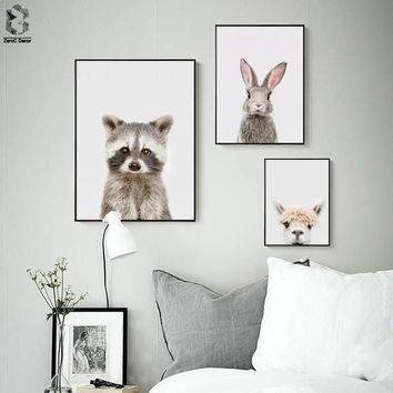 Nordic Racoon Bangs Canvas Art Prints and Posters Decorative, Wall Art Bunny Paintings Picture for Kids Bedroom Home Decor