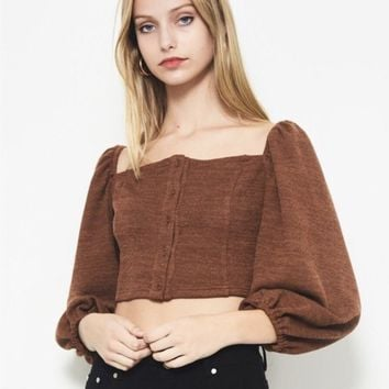 Knit Square Neck Blouse