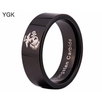 USMC Black Beveled Designer Men's Ring | White Marine Corp Logo | Tungsten | Comfort Fit | 8MM