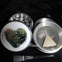 Heart Bud Cannabis 4 Piece Herb Grinder Pollen Screen and Catcher from Cognitive Fashioned
