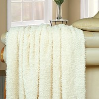 "BNF Home Fluffy Knitted Woven Throw Couch Cover Sofa Blanket, 50 by 60"", Antique White"