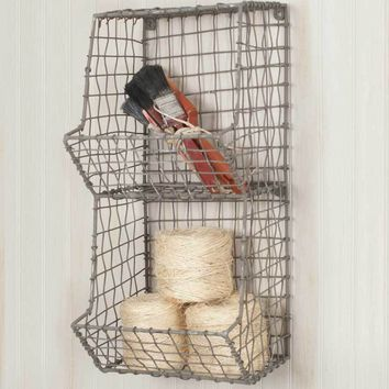 Rustic Industrial Hanging Mini General Store Wall Bin Rack Home Decor