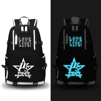 2017 New High Quality Love Live Luminous Backpack Men Women Laptop Travel Bags School Bag Satchel Work Leisure Bag Fashion Bag