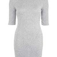 Ribbed Roll Neck Bodycon Dress - Grey