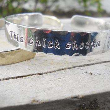 This chick shoots handstamped pure aluminum cuff bracelet with camera stamp