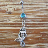 Belly Button Ring - Body Jewelry - Mermaid with Light Blue Gem Stone Belly Button Ring
