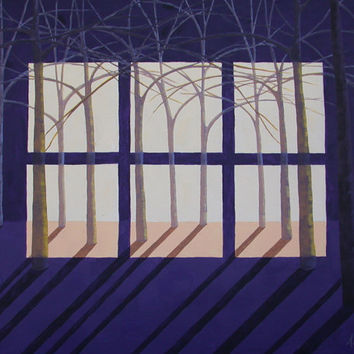 Night and Day Window, Acrylic Landscape Painting, Wall Art, Night and Day Painting, Window Painting