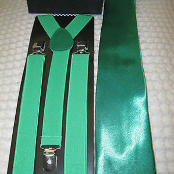 Green Adjustable Bow Tie,Green Adjustable Suspenders, and Green Tie Combo-New!