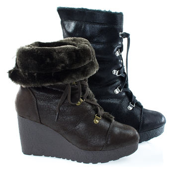 Crepe07 Brown By Bamboo, Women's Military Lace Up Faux Fur Lining Winter Snow Boots, Wedge Lug Sole