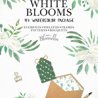 49 Watercolour Package White Blooms Wedding Flower Clipart - Hand Painted INSTANT DOWNLOAD Flowers PNGs Spring Summer Leaves Digital Art