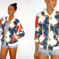 Vtg Gold Rope Print Red White Blue Zip Up Cotton Jacket