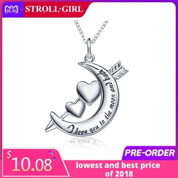New arrival 925 sterling silver I love you to the moon and back pendant chain necklace diy fashion jewelry making for women gift