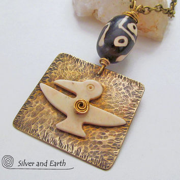 African Necklace, Ethnic Tribal Necklace, Tribal Bird Necklace, African Jewelry, Hammered Brass Metalwork Necklace, Rustic Earthy Jewelry