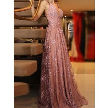 Prom Dress Blush V Neck Evening Dresses Backless Appliques