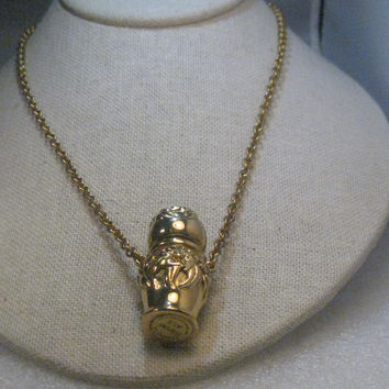 "Vintage Max Factor Ornate Perfume Urn Necklace, Geminesse , 30"", Hollywood, RARE"