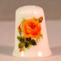 Collectible Thimbles, Handmade Thimbles, Thimble Collection, Yellow Rose Thimble, Flower Thimble