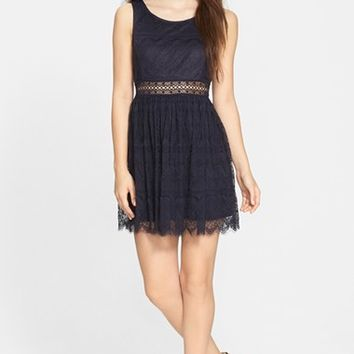 Junior Women's Taylor & Sage Lace Skater Dress,