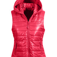 LE3NO Womens Zip Up Puffer Vest Jacket with Hood (CLEARANCE)