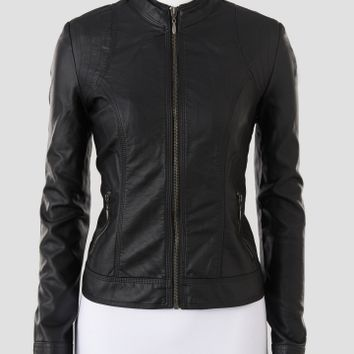 Baccini Faux Leather Jacket with Quilted Shoulder Patches - Women | Stein Mart