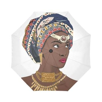 African Headwrap Diva Automatic Foldable Umbrella