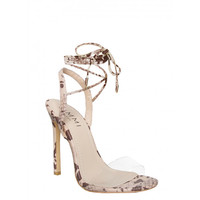 Ella Beige Snake Clear Lace Up Heels : Simmi Shoes