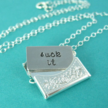 Rude Locket - Snark Letter Necklace - Custom stamped silver envelope necklace
