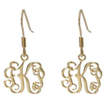 Monogram Initial Personalized EARRINGS 0.6 inch - Sterling silver 925. sweet 16, bff gift, gift for her, monogram jewelry.