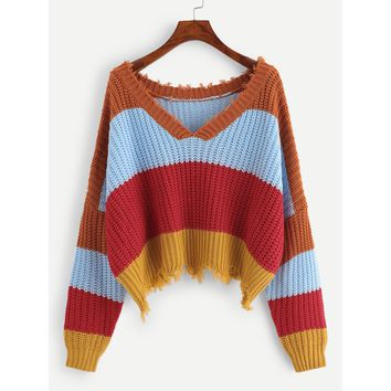 Color Block Raw Hem Sweater