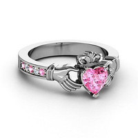 AMAZING PINK HEART CUT 925 STERLING SILVER ENGAGEMENT AND WEDDING RING FOR HER