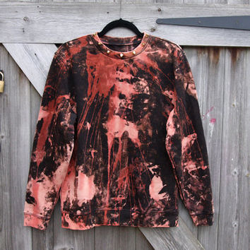 Unisex Studded Collar Acid Wash Grunge Sweatshirt by kissthefuture